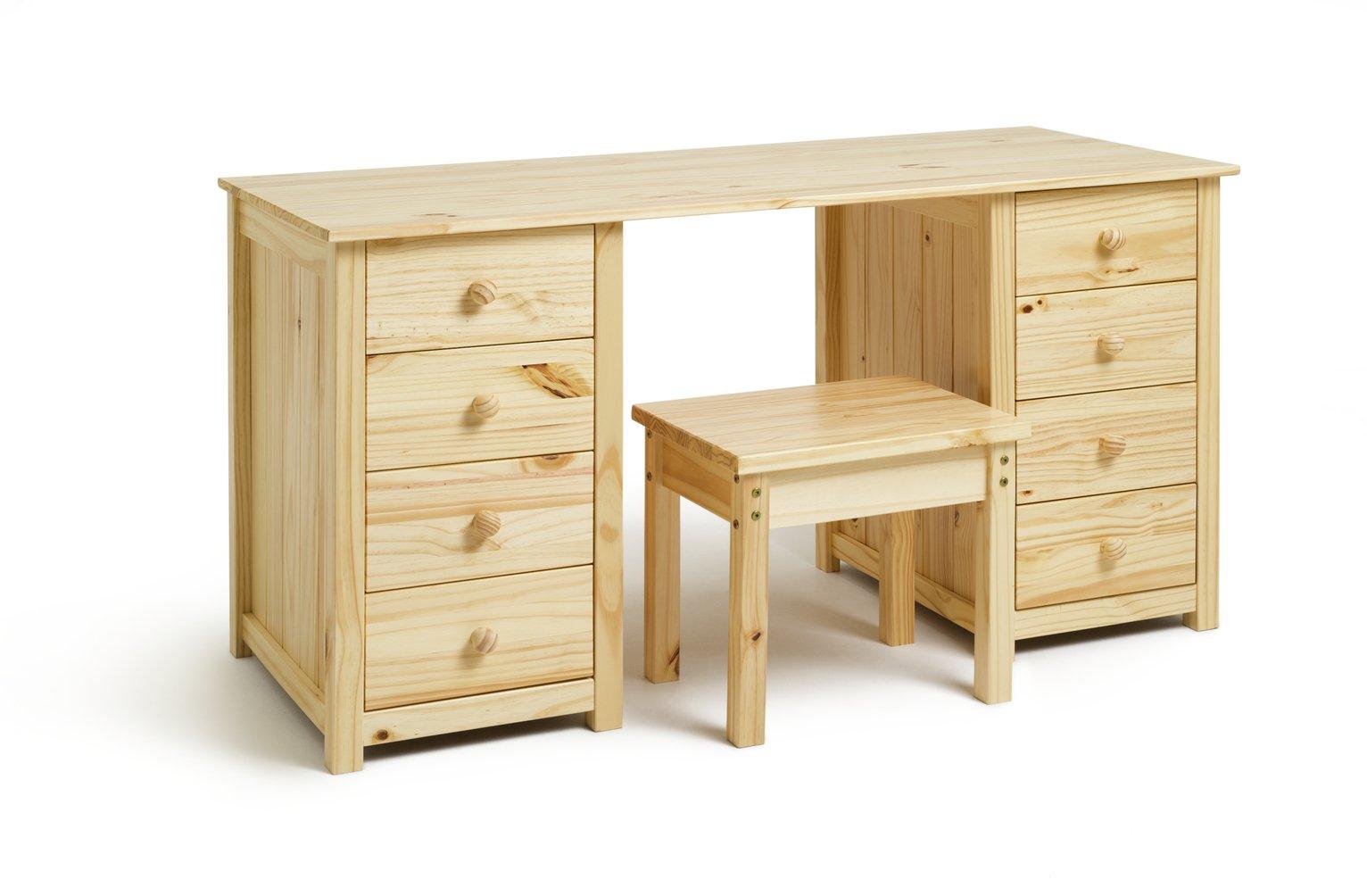 Argos Home Scandinavia 8 Drw Dressing Table and Stool - Pine