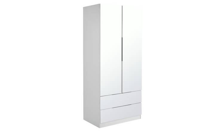 Argos Home Sandon 2 Door 2 Drw Wardrobe - White and Mirrored