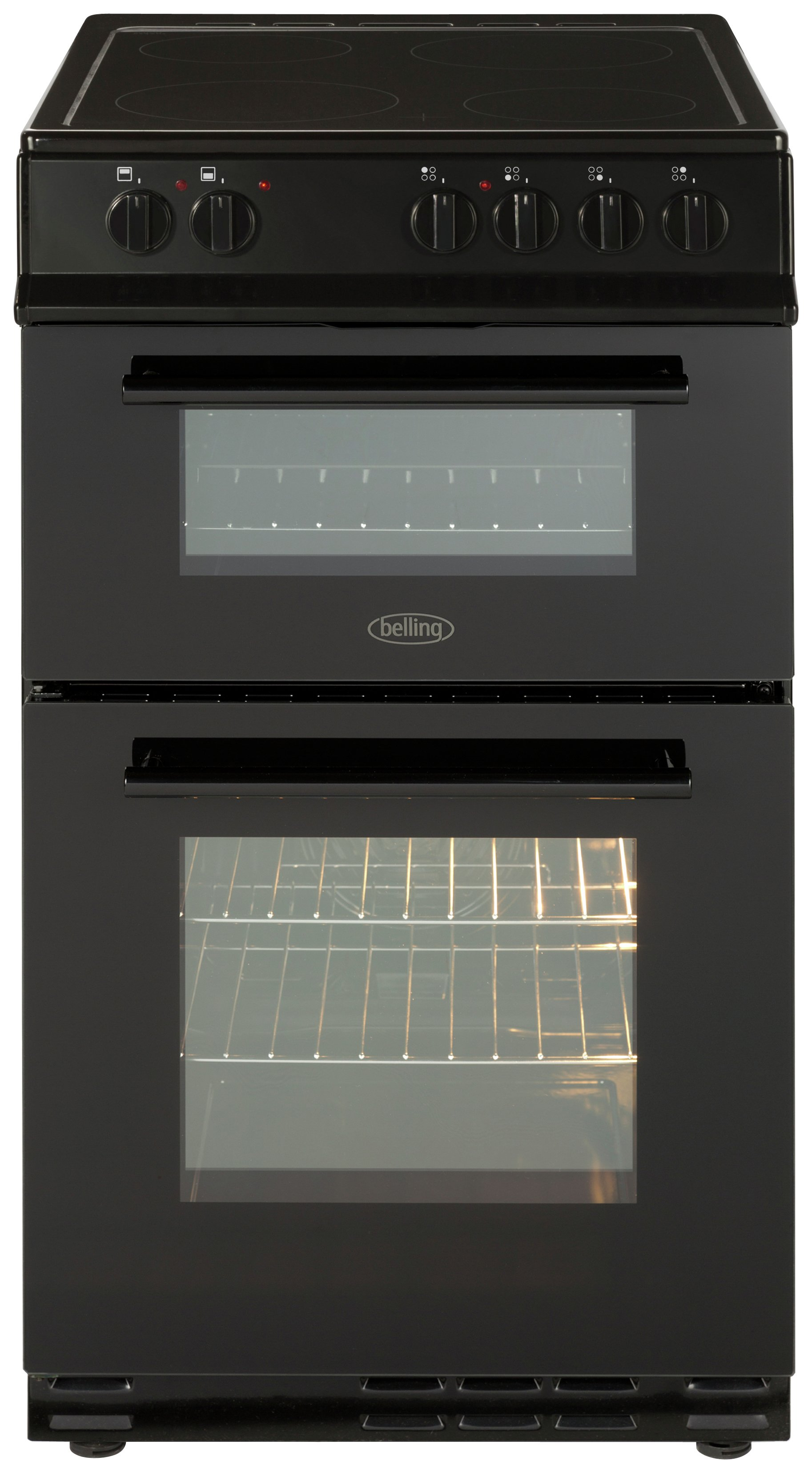 Belling FS50EDOFC 50cm Double Oven Electric Cooker - Black Best Price, Cheapest Prices