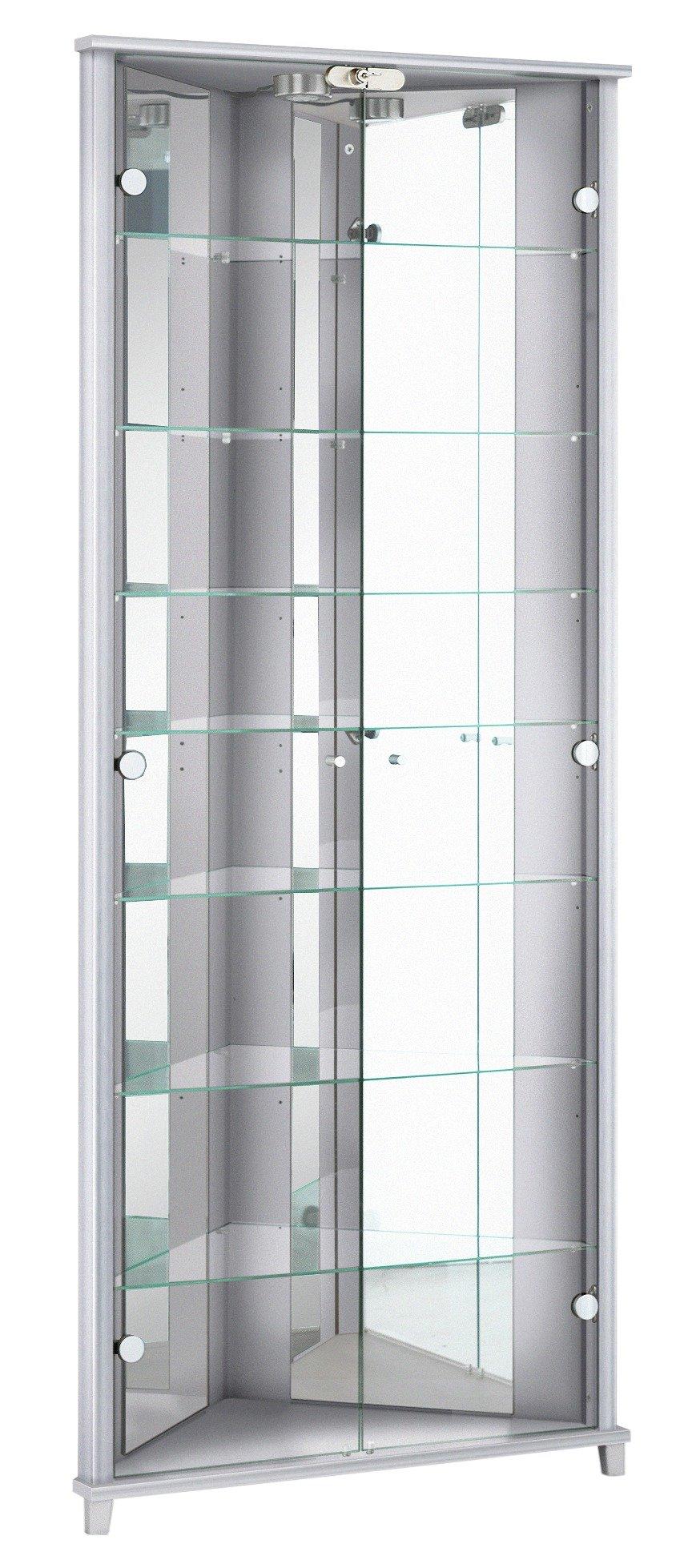 home triangle 2 door corner display cabinet silver