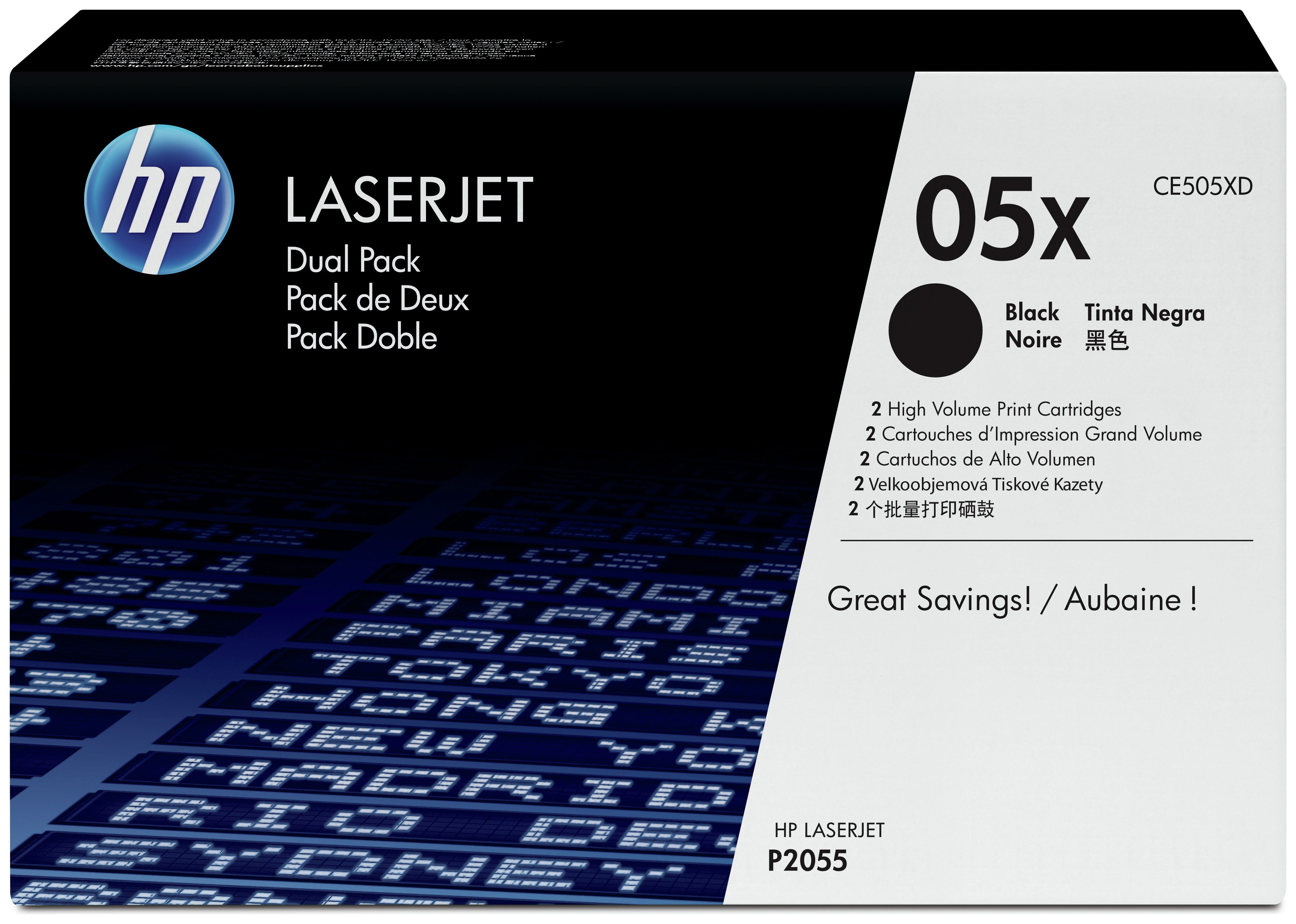 Image of HP - 05A 2-pack Black LaserJet - Toner (CE505D)