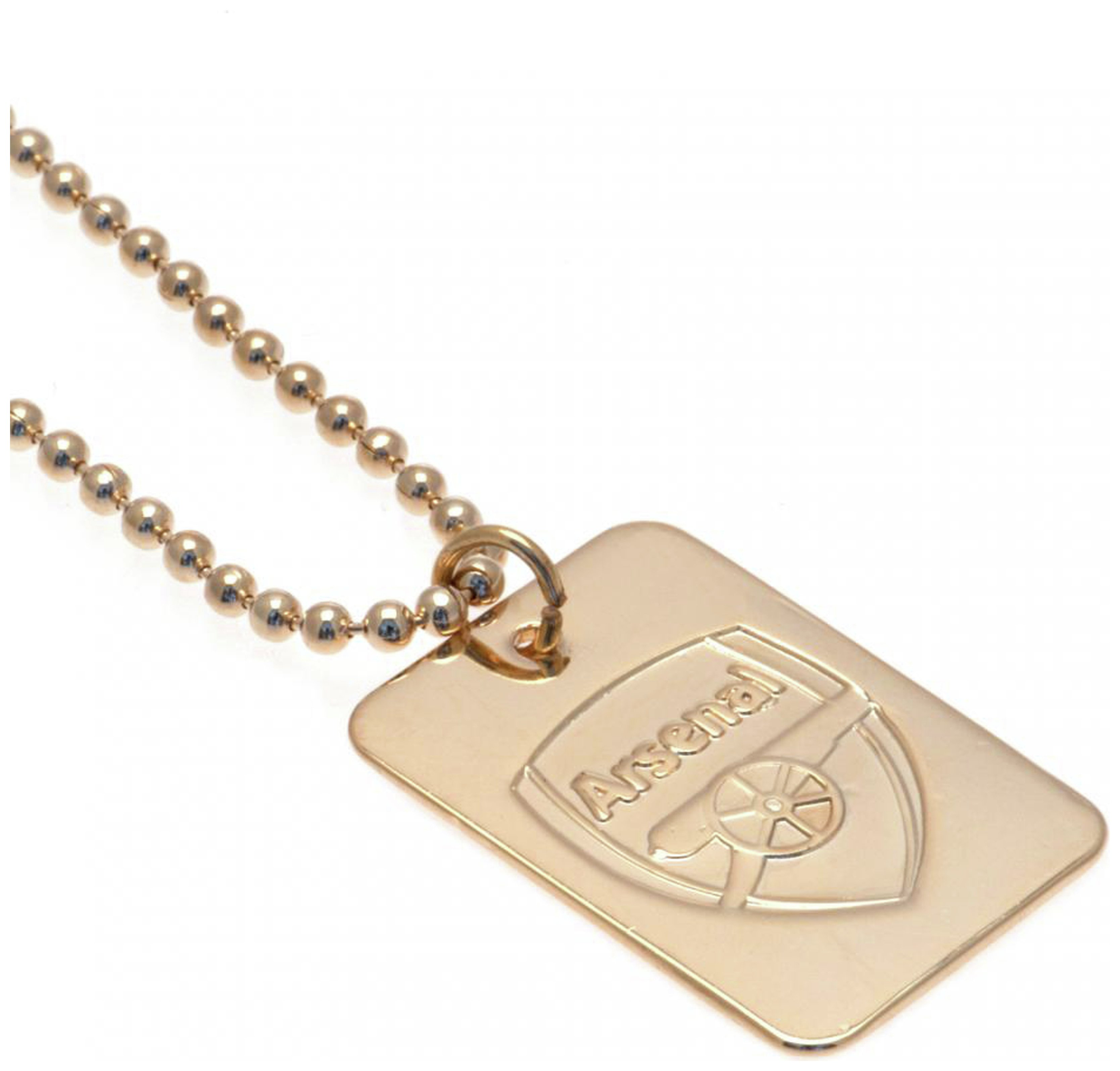Image of Gold Plated Arsenal Dog Tag & Ball Chain.