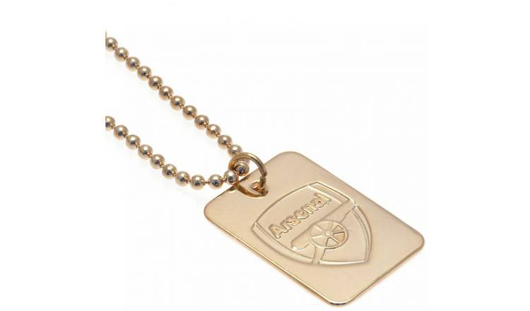 Gold Plated Arsenal Dog Tag & Ball Chain.