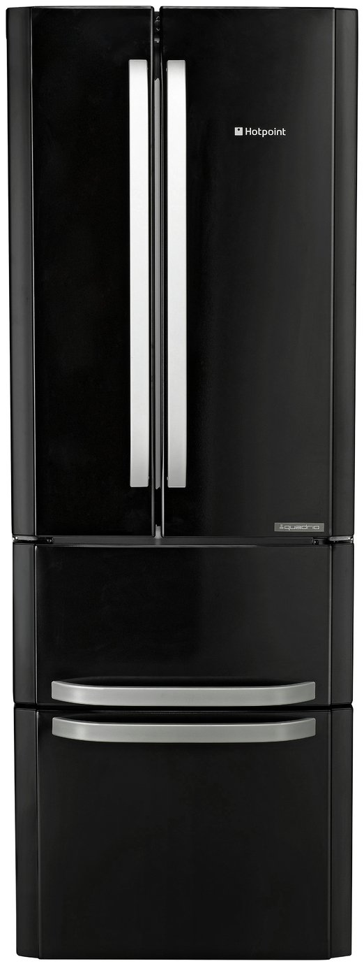 Hotpoint FFU4DK American Fridge Freezer - Black Best Price, Cheapest Prices