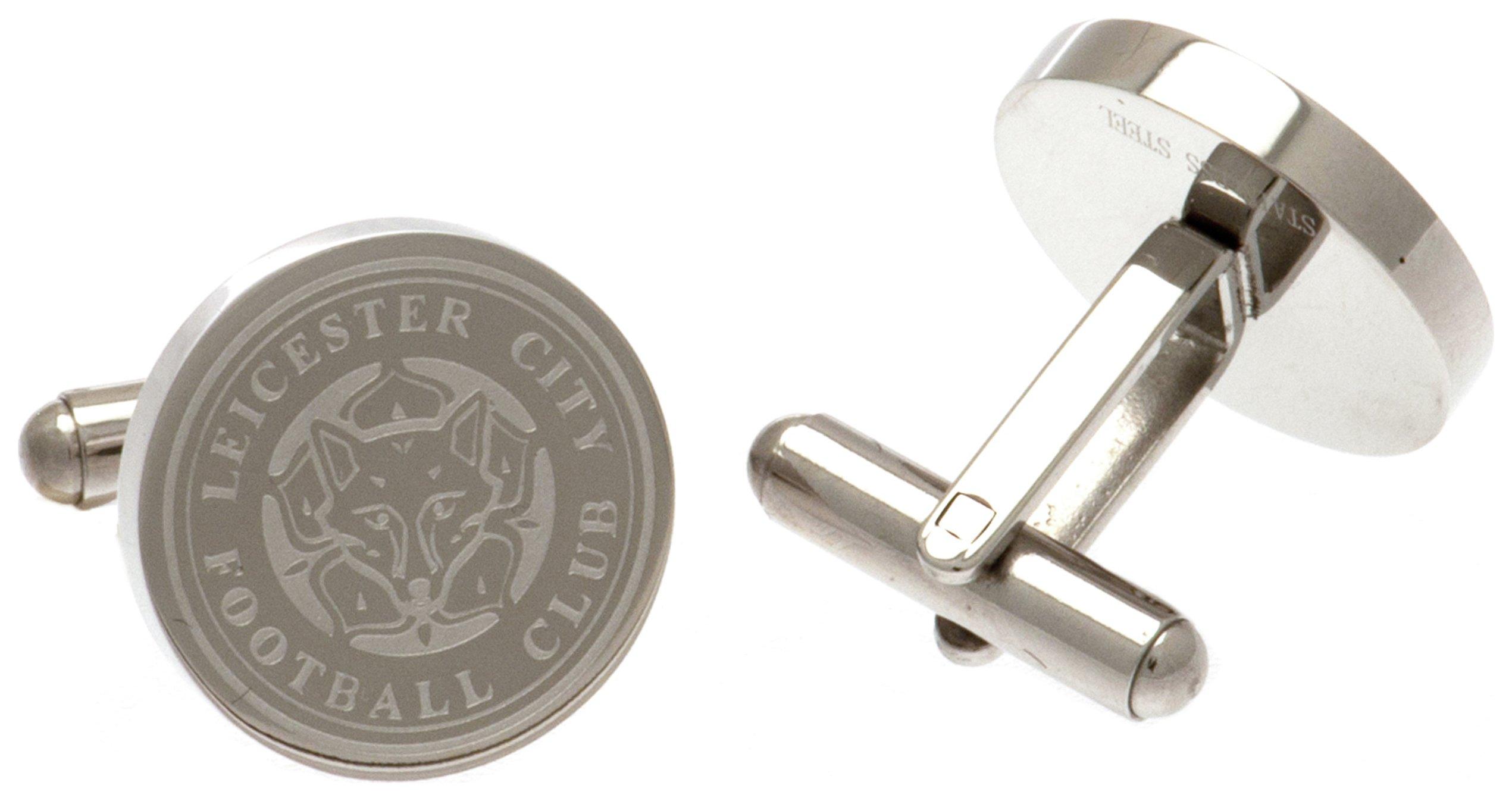 Stainless Steel Leicester City Crest Round Cufflinks.