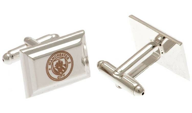 Silver Plated Man City Crest Cufflinks