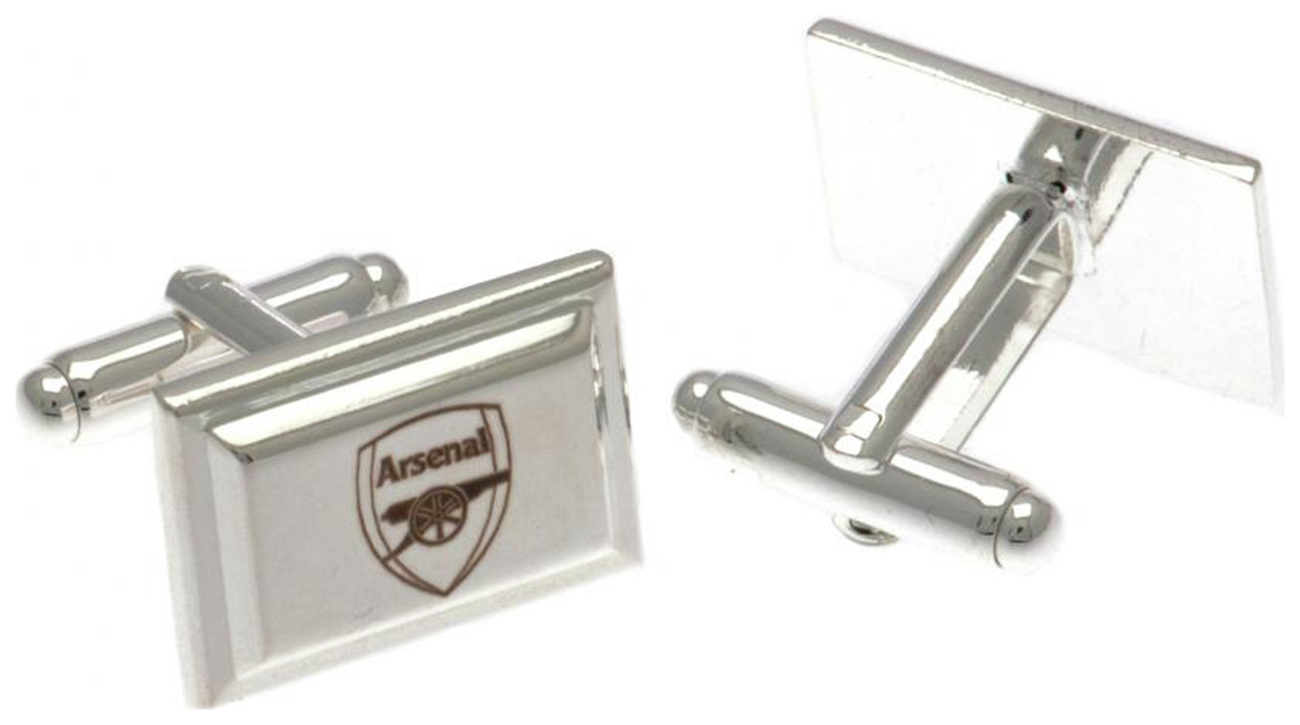 Image of Silver Plated Arsenal Crest Rectangular Cufflinks