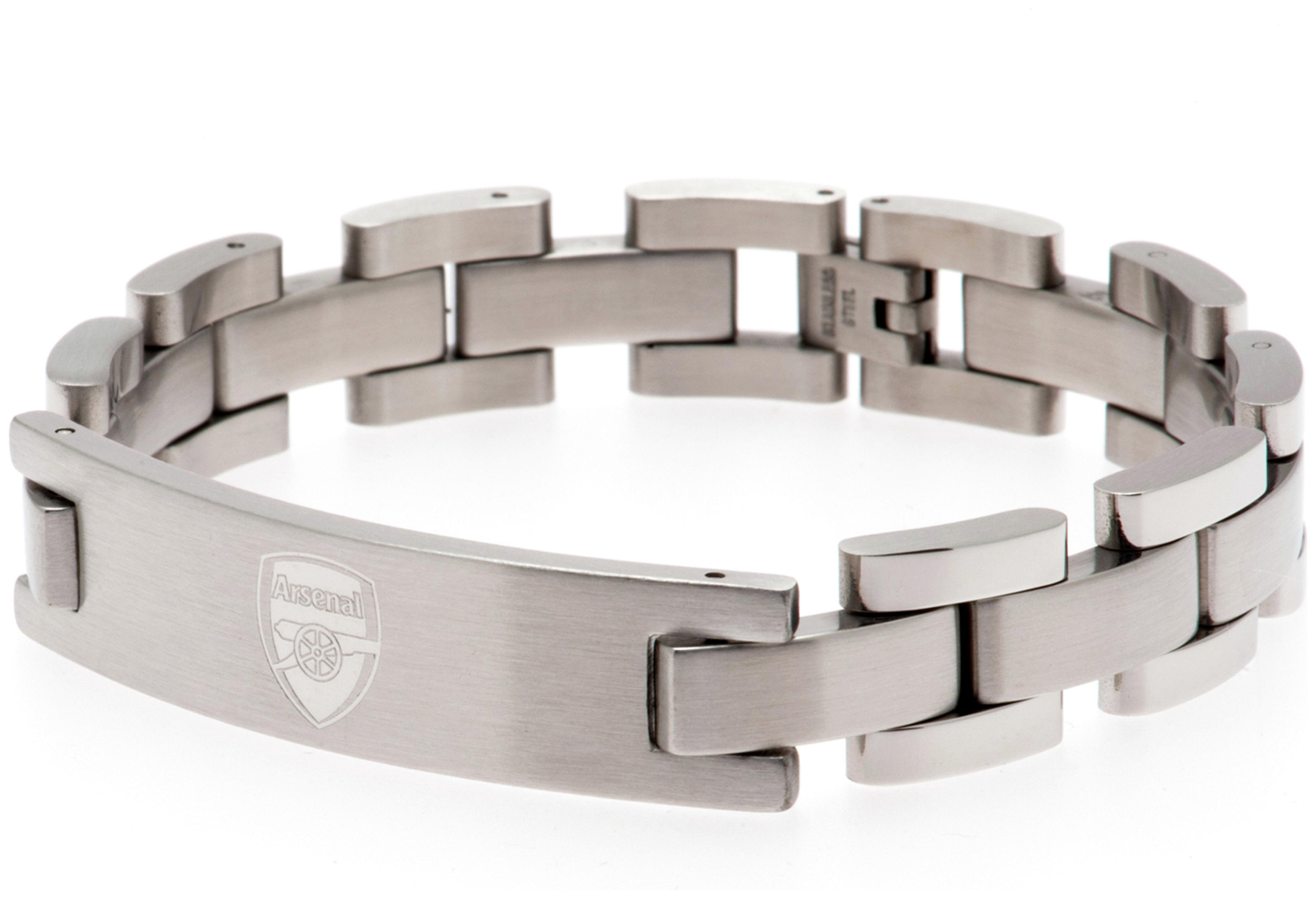 Image of Arsenal FC - Crest - Stainless Steel and Leather - Bracelet