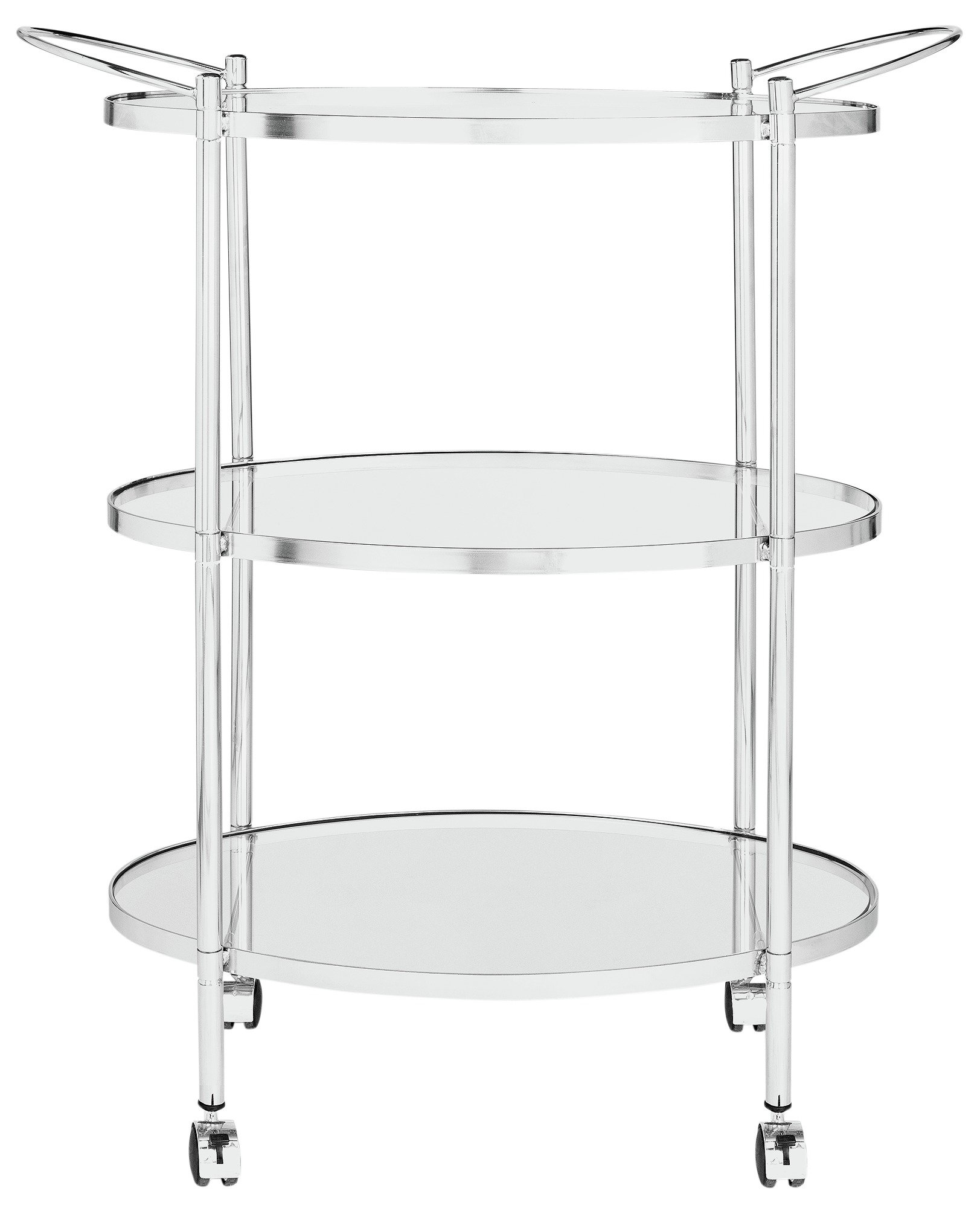 Heart of House 3 Tier Chrome and Glass Drinks Trolley.