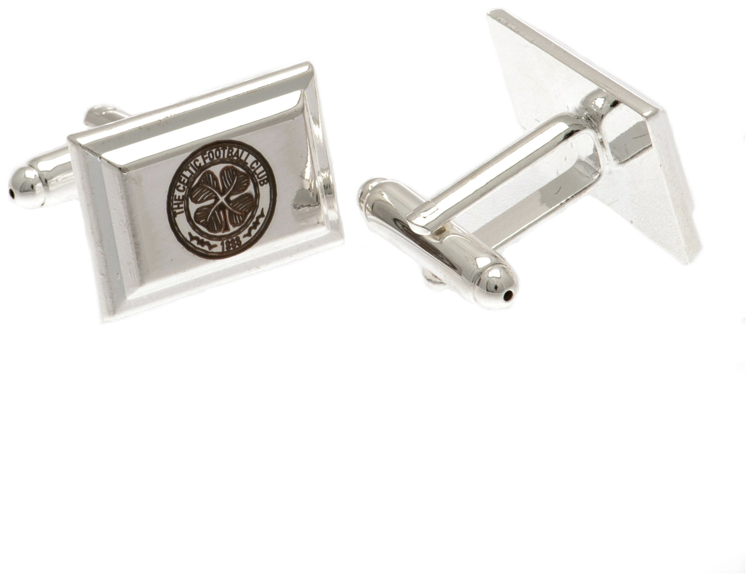 Image of Silver Plated Celtic FC Crest Cufflinks.