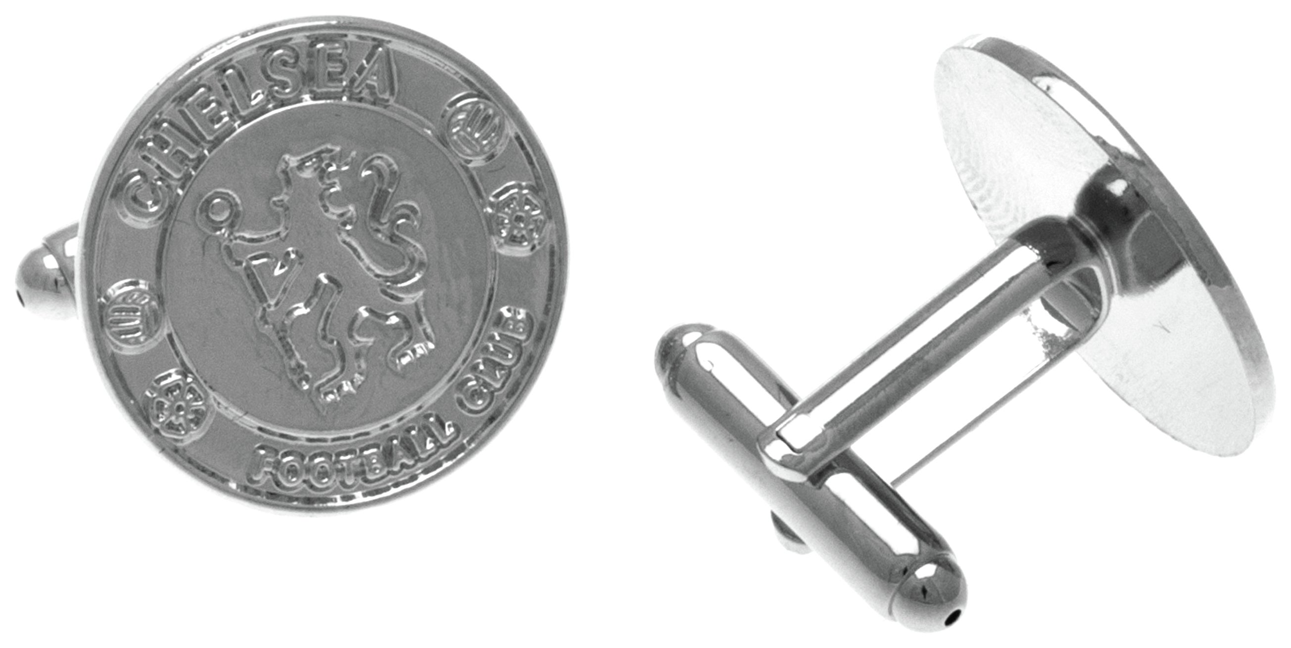 Image of Silver Plated Chelsea FC Crest Circlular Cufflinks