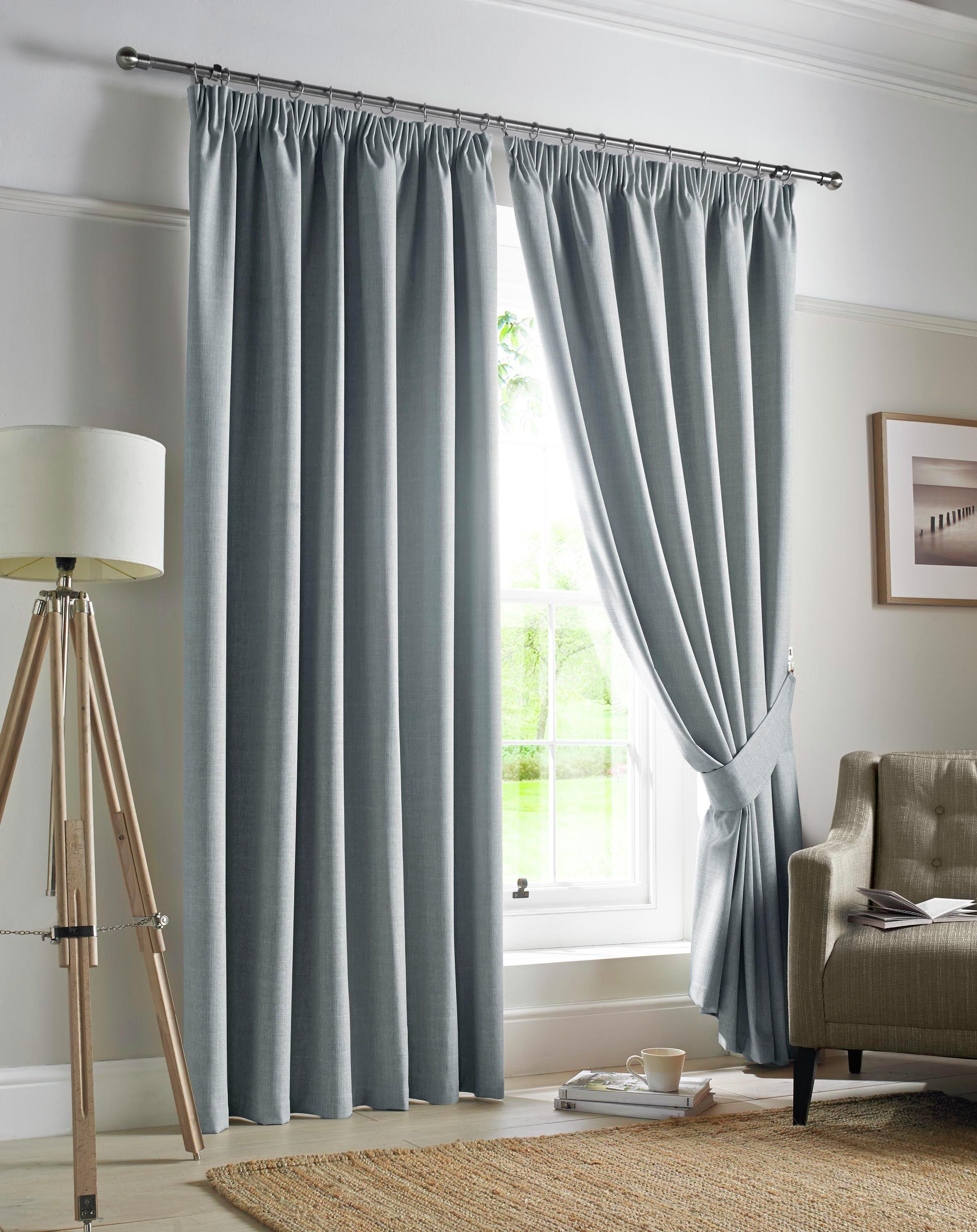 Image of Ashley Wilde Darwin Pencil Pleat Curtains - 117x183cm - Sky