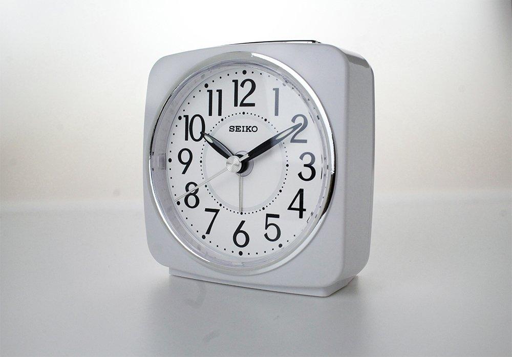 Seiko White Sweep Second Hand Square Alarm Clock