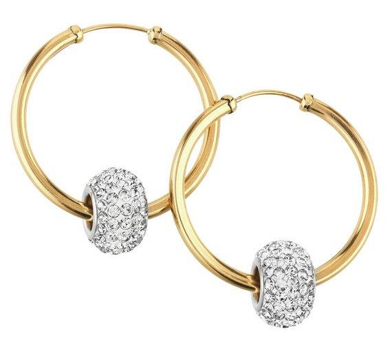 ae334497b ... clearance buy revere 9ct gold crystal glitter slider hoop earrings at  argos bb966 73cde