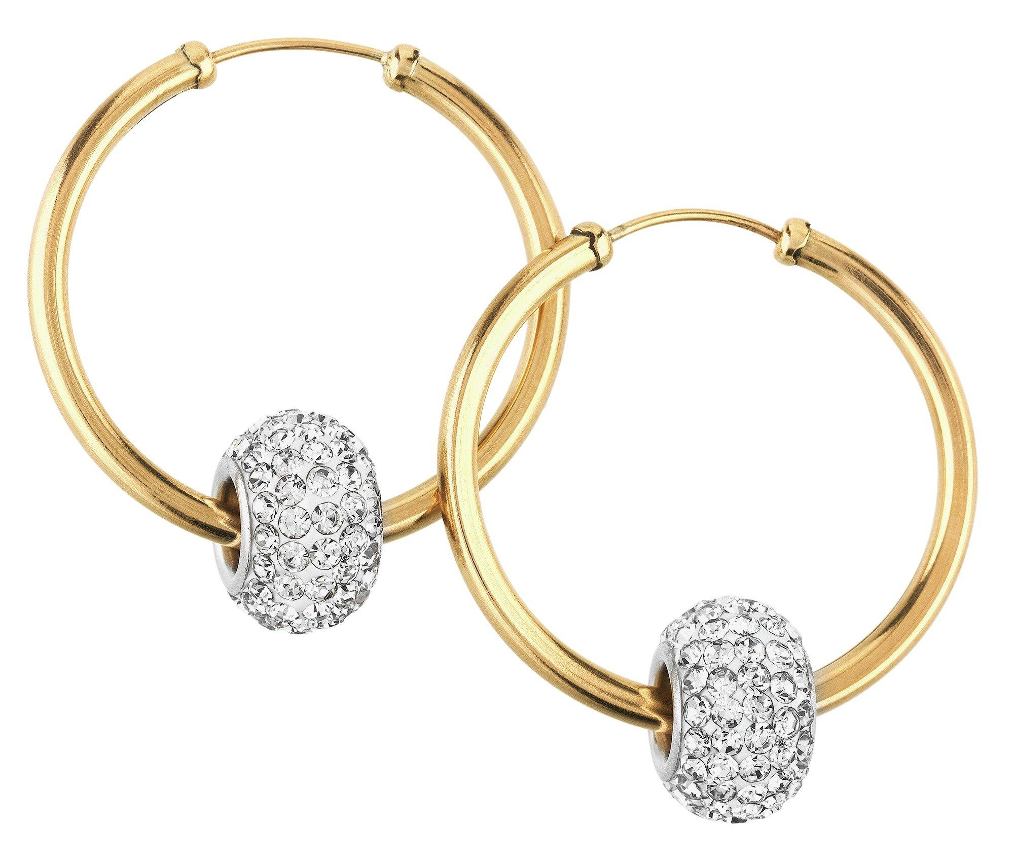 Buy Revere 9ct Gold Crystal Glitter Slider Hoop Earrings at Argos