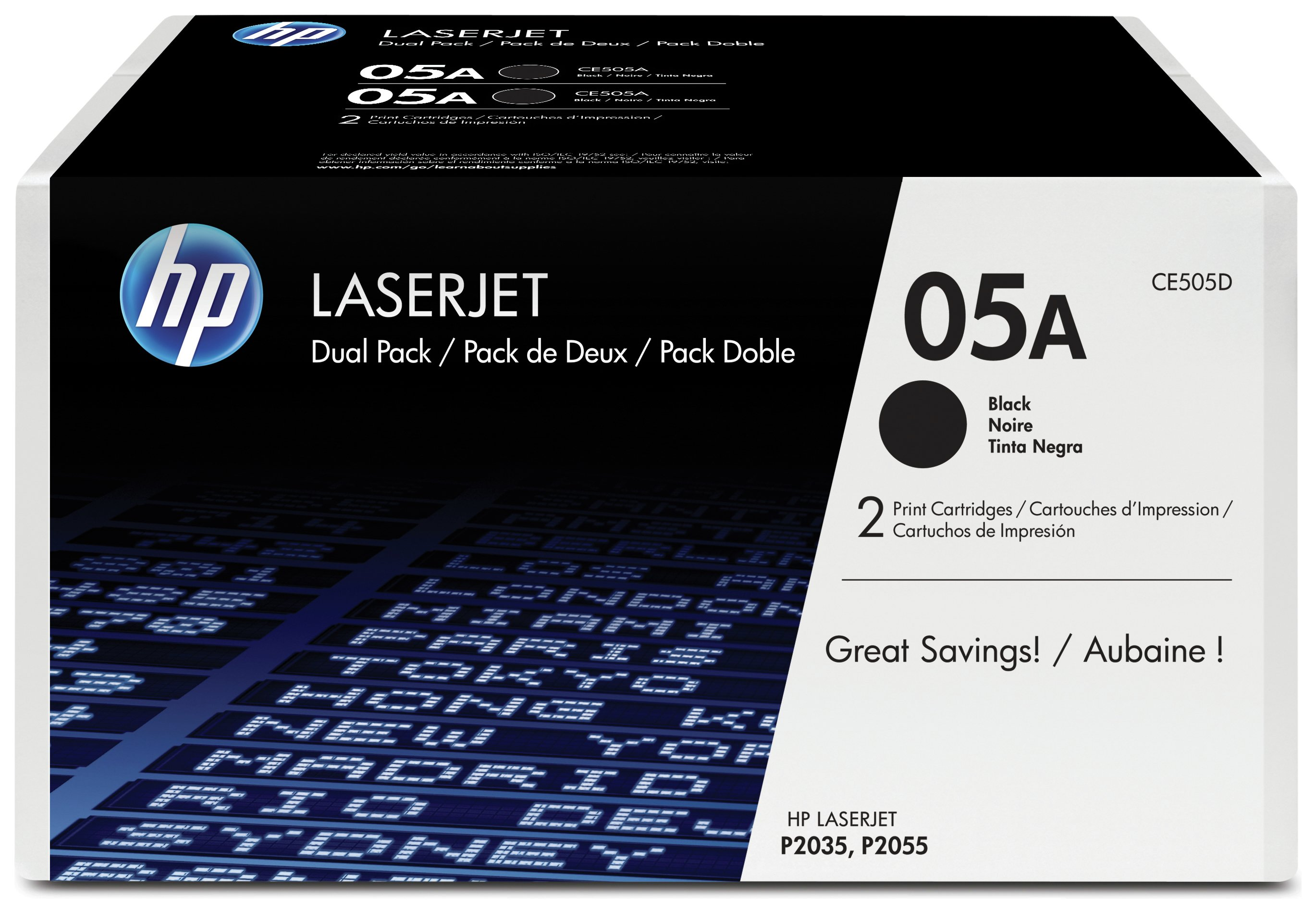 Image of HP - 05A 2-pack Black LaserJet - Toner Cartridges (CE505D)