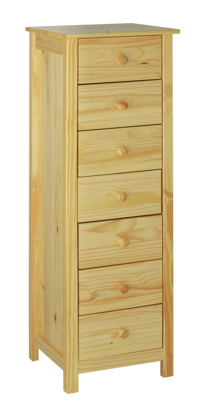 HOME New Scandinavia 7 Drawer Narrow Chest - Pine