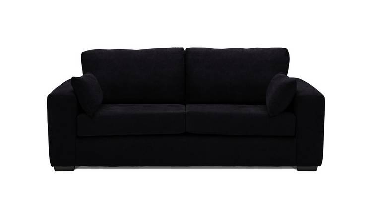 Argos Home Eton 3 Seater Fabric Sofa - Black