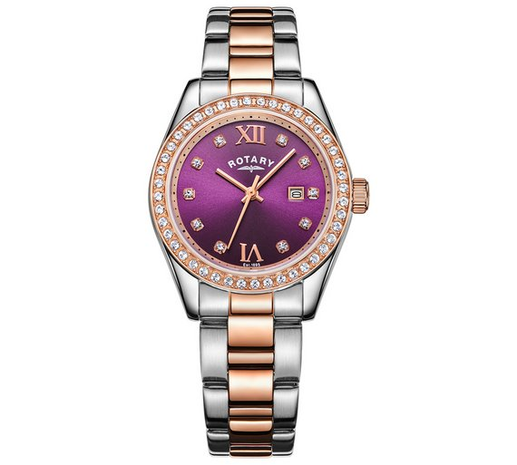 buy rotary ladies two tone rose gold plated bracelet watch at rotary ladies two tone rose gold plated bracelet watch544 8083