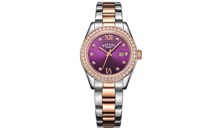Rotary Ladies Two Tone Rose Gold Plated Bracelet Watch