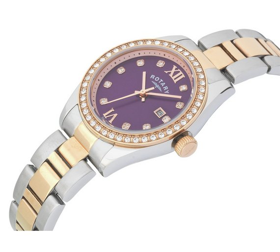 buy rotary ladies two tone rose gold plated bracelet watch at rotary ladies two tone rose gold plated bracelet watch544 8083 rotary