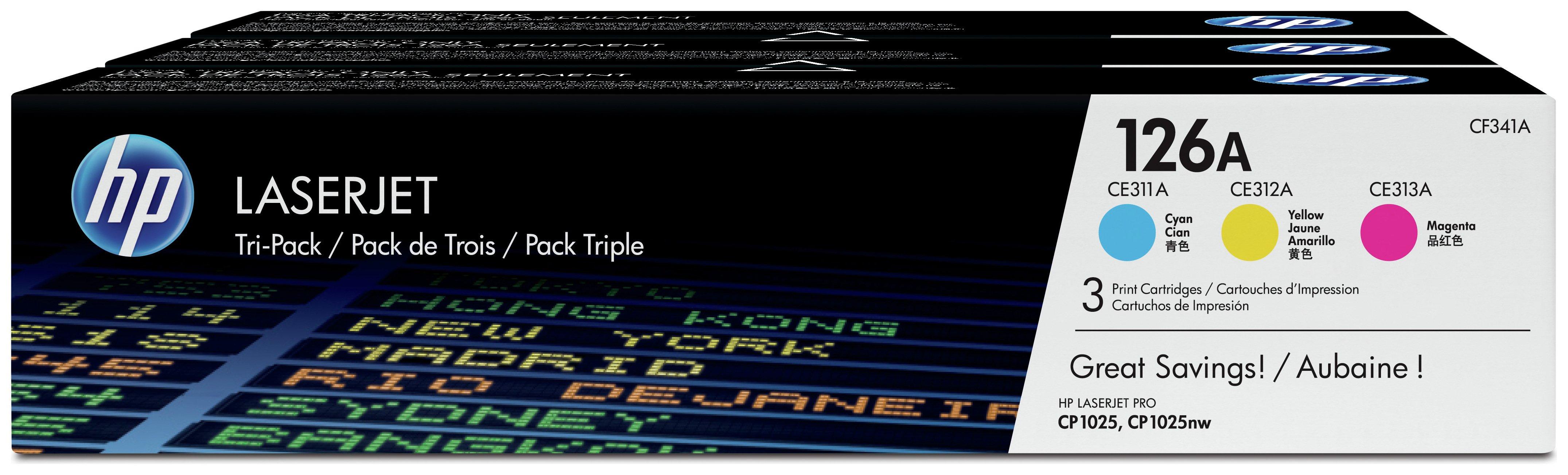 HP - 126A 3-pack Cyan/Magenta/Yellow LaserJet - Toner (CF341A)