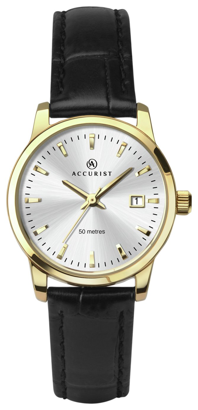 Image of Accurist - Black Leather Strap White Dial - Watch