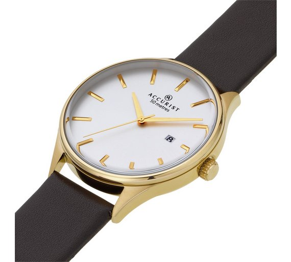 buy accurist men s gold plated brown strap watch at argos co uk accurist men s gold plated brown strap watch548 0405