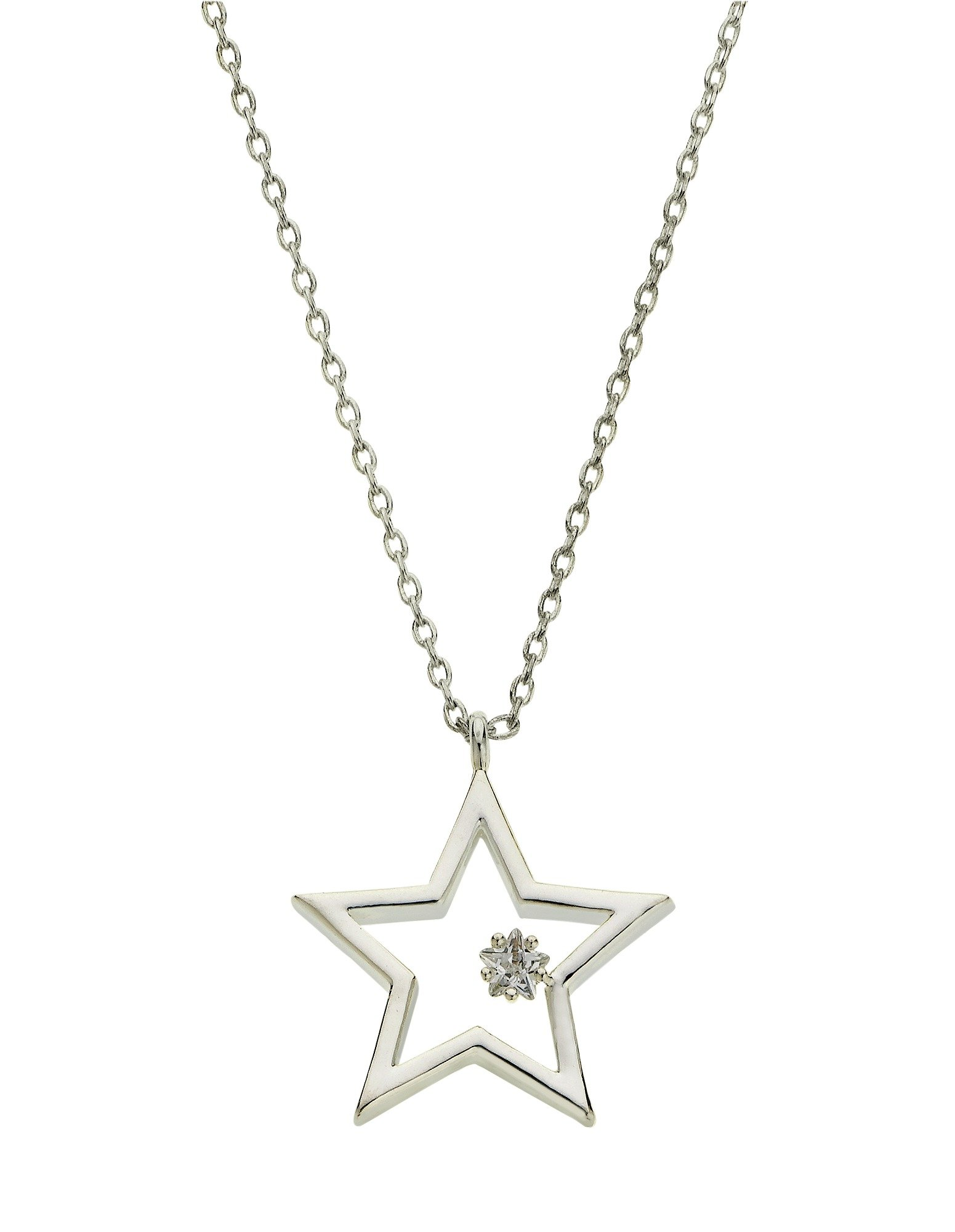 Amelia Grace Silver Colour Star Pendant 16 Inch Necklace