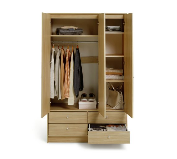 HOME New Malibu 3 Door 4 Drawer Wardrobe - Beech Effect