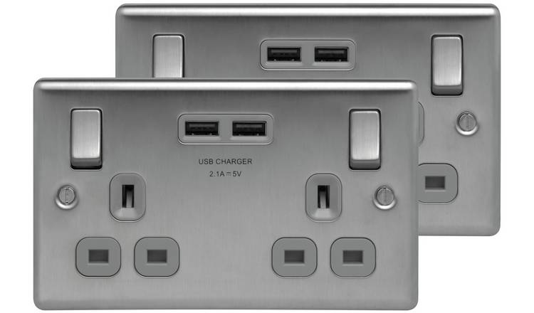 BG Double Socket with 2 USB Ports (2.1A) Twin Pack