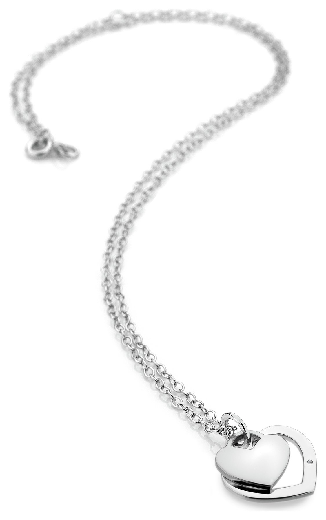 Image of Accents by Hot Diamonds - Silver Double Heart Pendant.