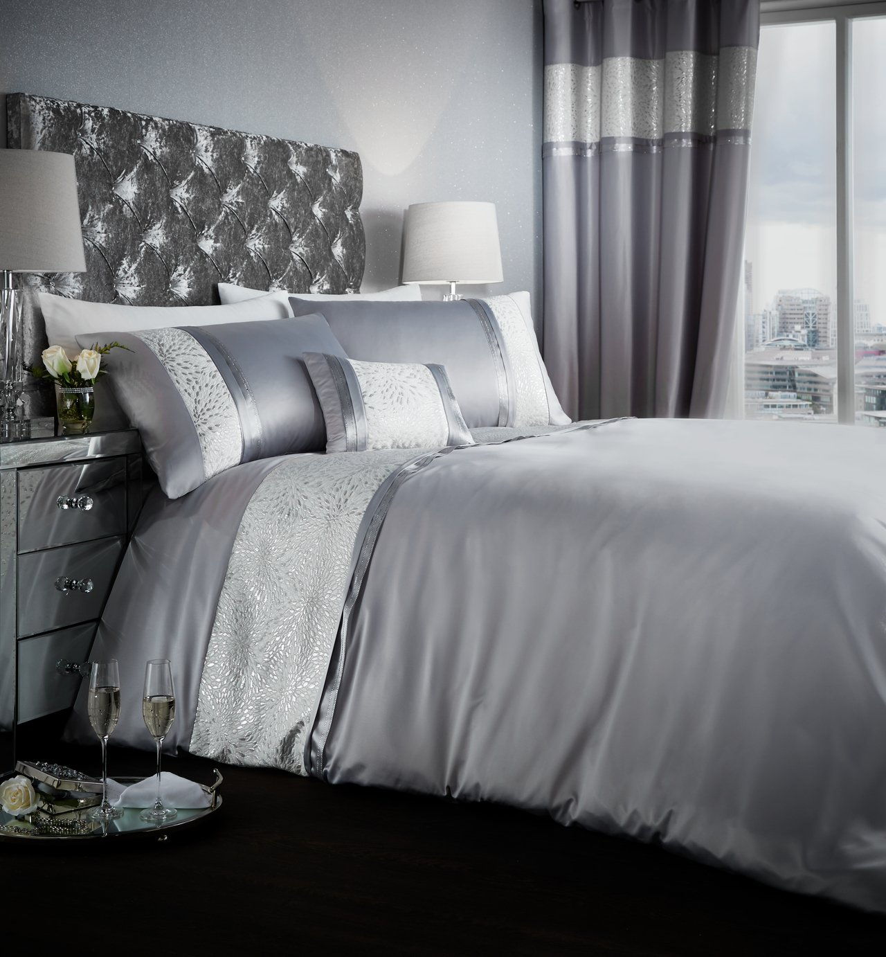 Catherine Lansfield Luxor Silver Bedding Set - Double