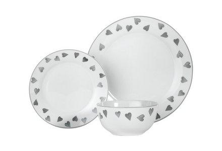HOME Hearts 12 Piece Porcelain Dinner Set - Grey