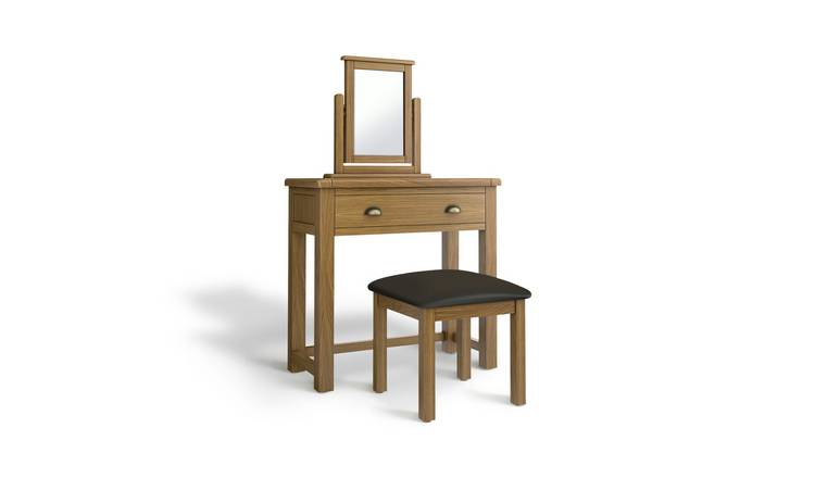 Argos Home Kent 1Drw Dressing Table, Stool, Mirror - Oak