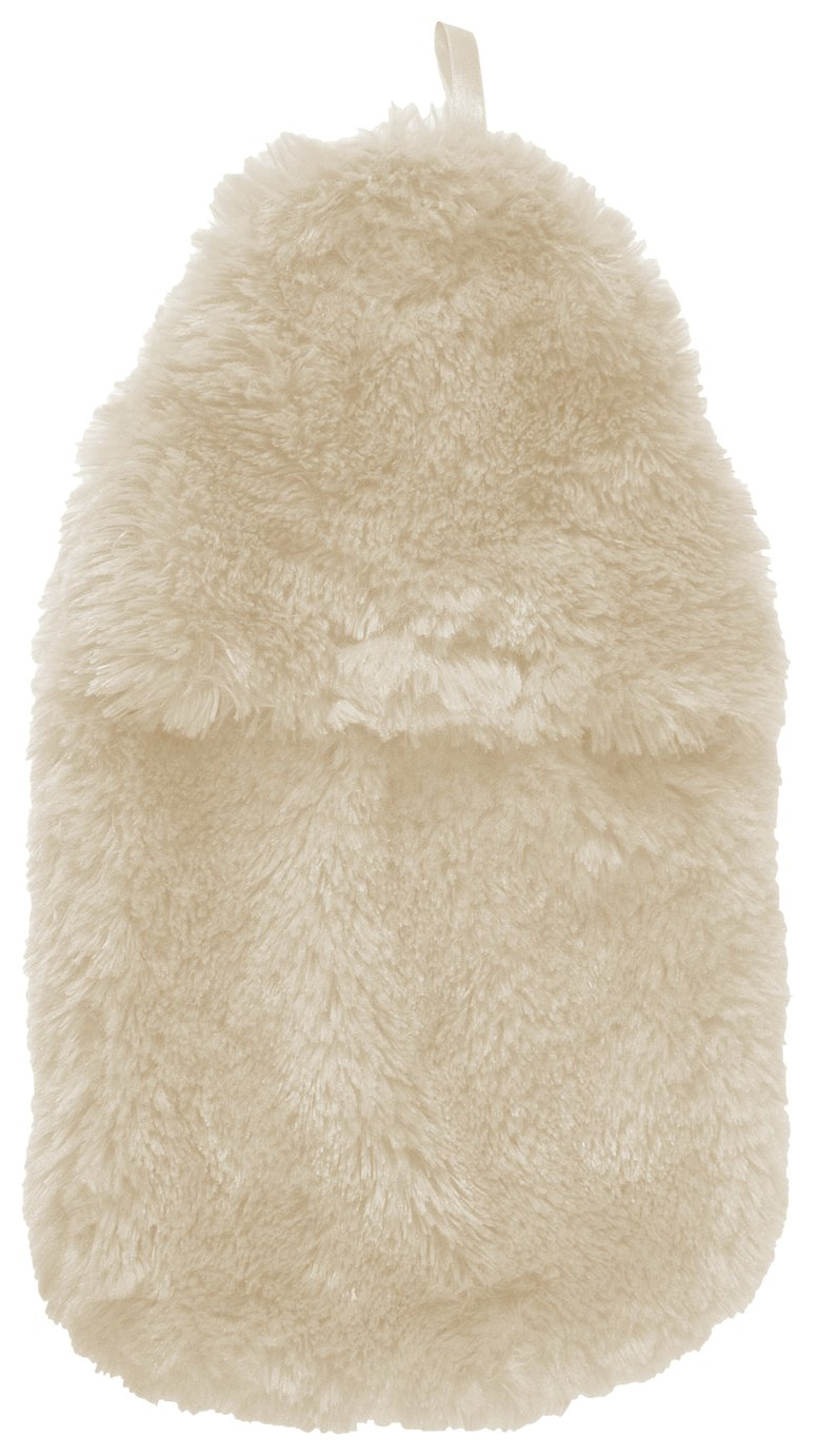 Image of Hot Water Bottle and Fur Cover - Cream