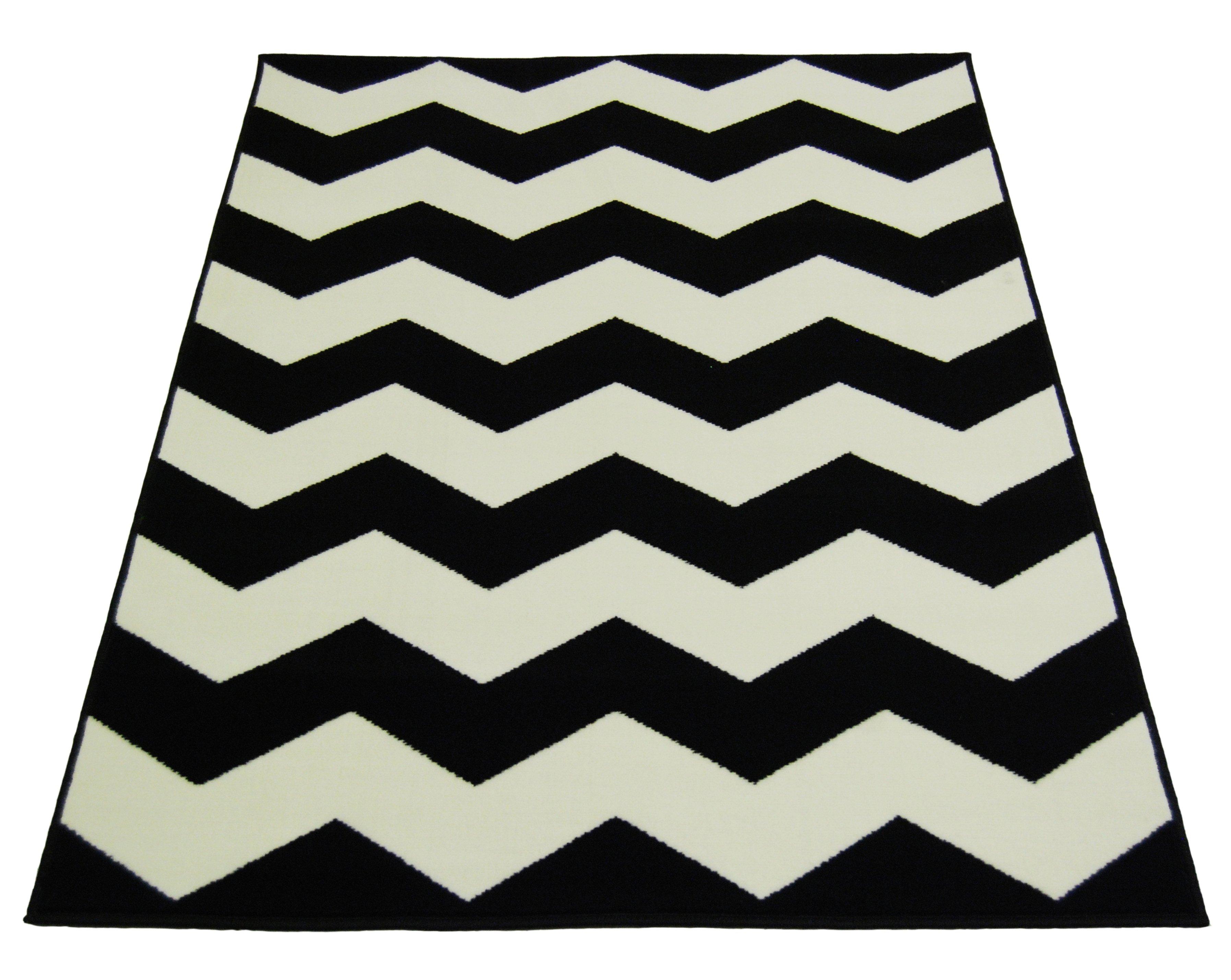 buy chevron rug - 160x230cm - black and white at argos.co.uk