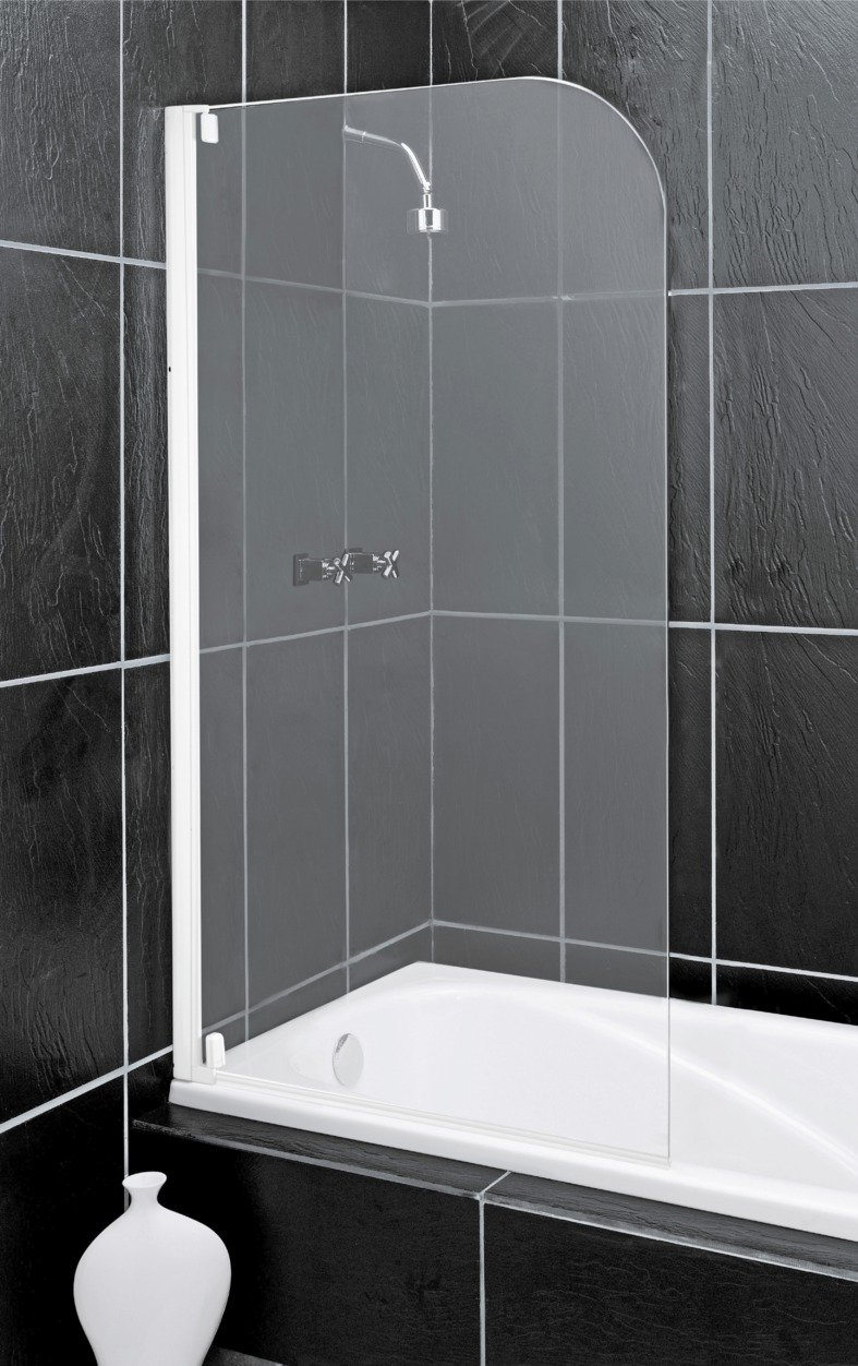 Argos Home Half Framed White Radius Bath & Shower Screen