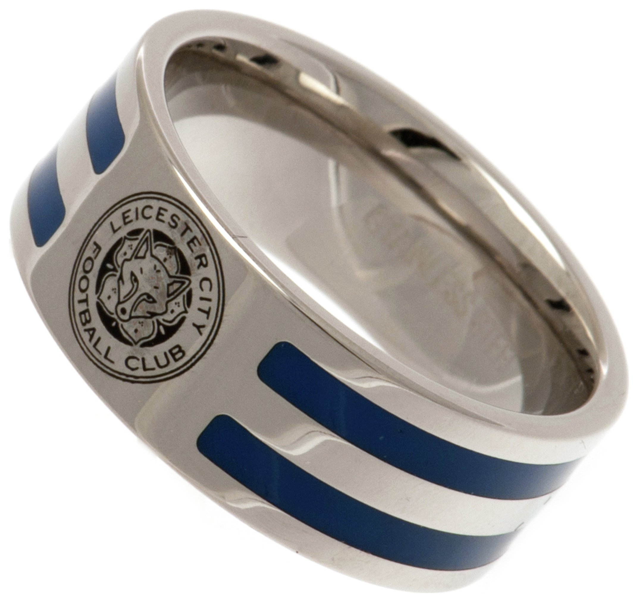 Stainless Steel Leicester City Striped Ring - R