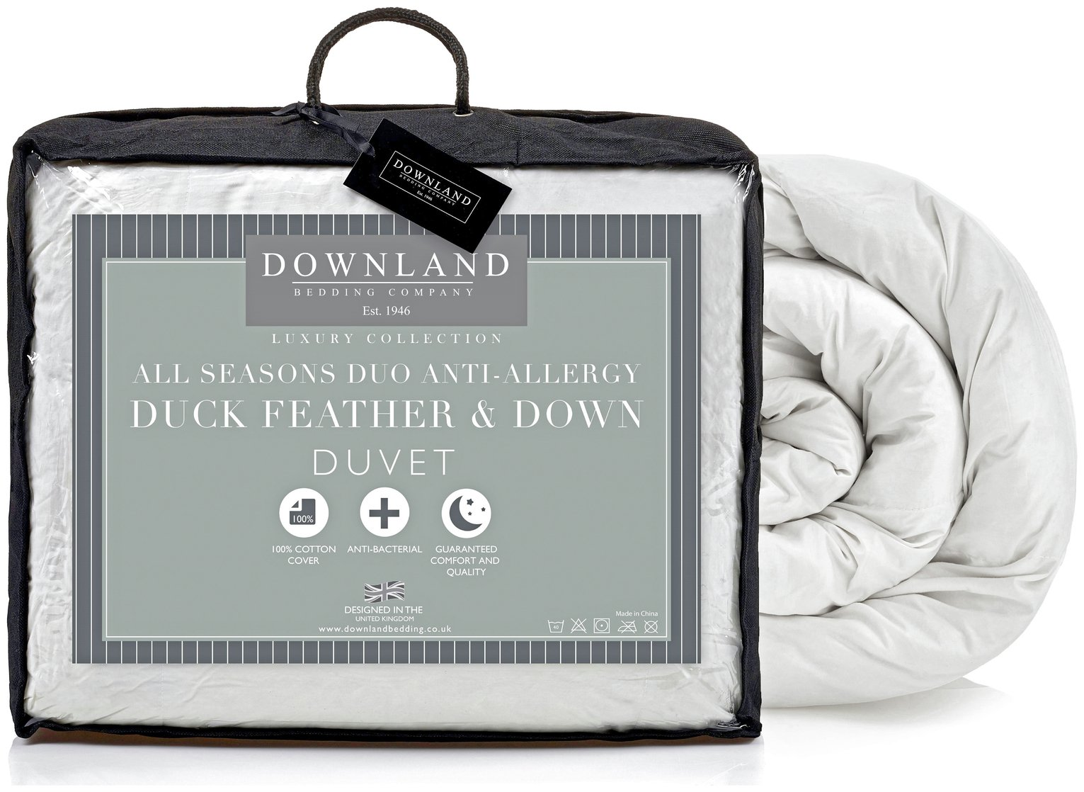 downland  duck feather down all seasons 15 tog  duvet  double