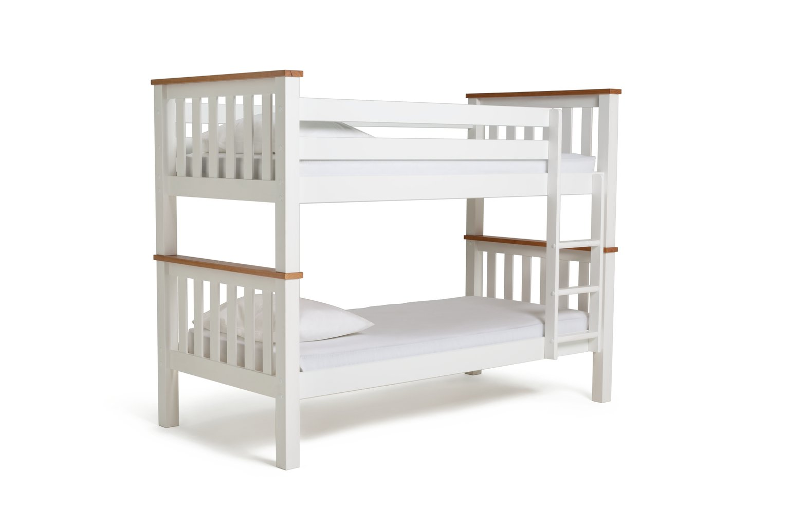 Argos Home White & Pine Heavy Duty Bunk Bed & 2 Mattresses