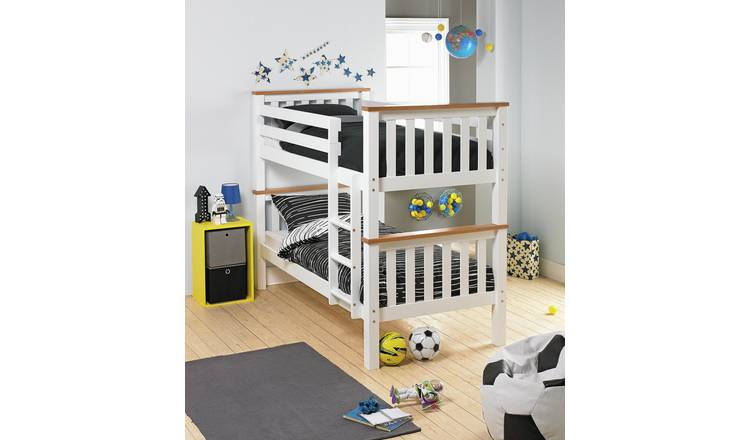 Argos Home Heavy Duty Bunk Bed and 2 Mattresses - Two Tone