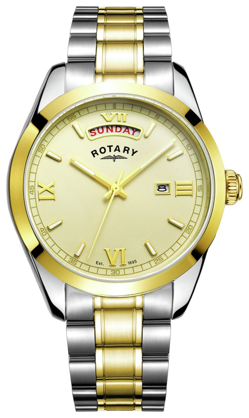 Rotary Men's Two Tone Stainless Steel Bracelet Watch