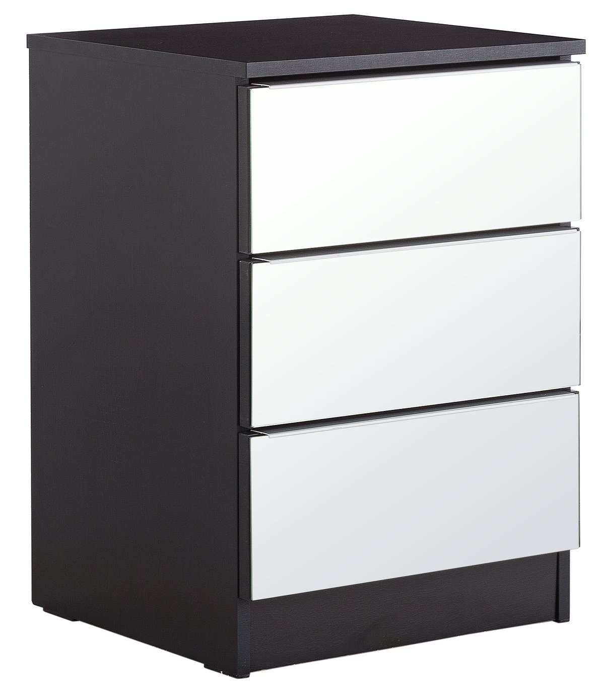 'Home - Sandon 3 Drawer - Bedside Chest - Black And Mirrored