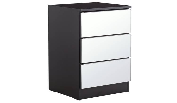 366d5e6322d0 Argos Home Sandon 3 Drawer Bedside Chest - Black & Mirrored553/1392