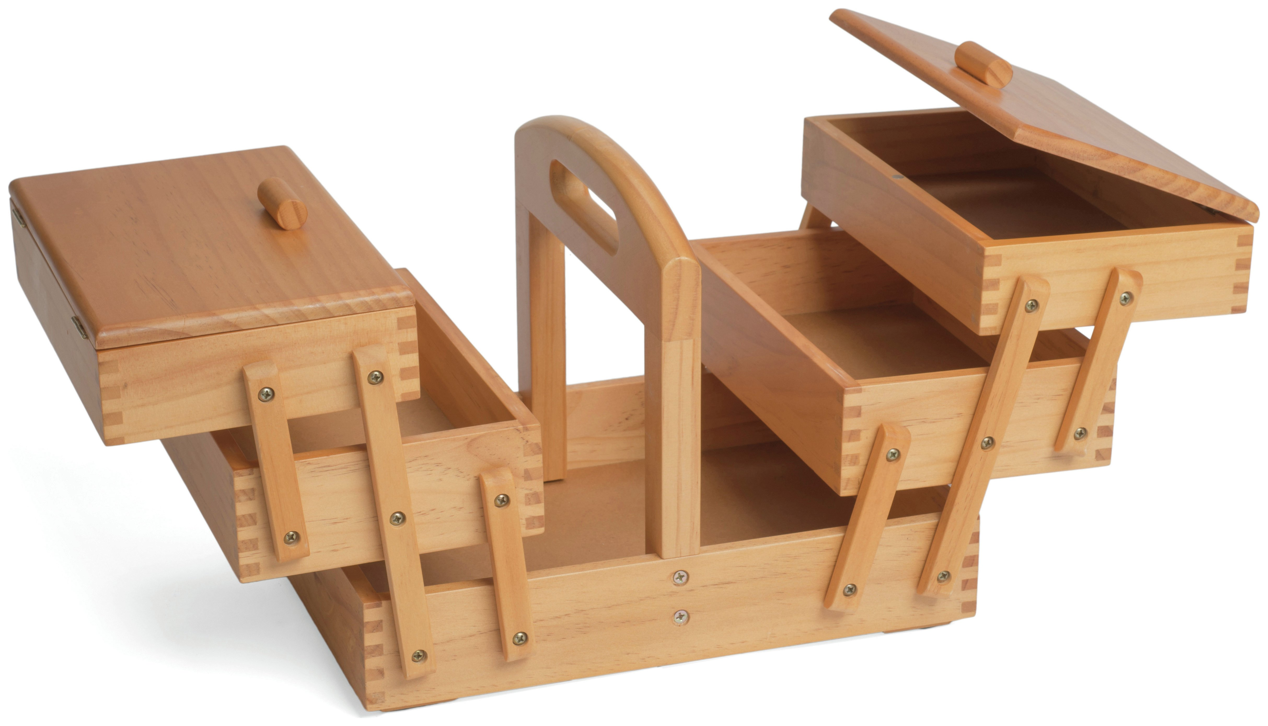 Solid Pine Cantilever 3 Tier Sewing Box
