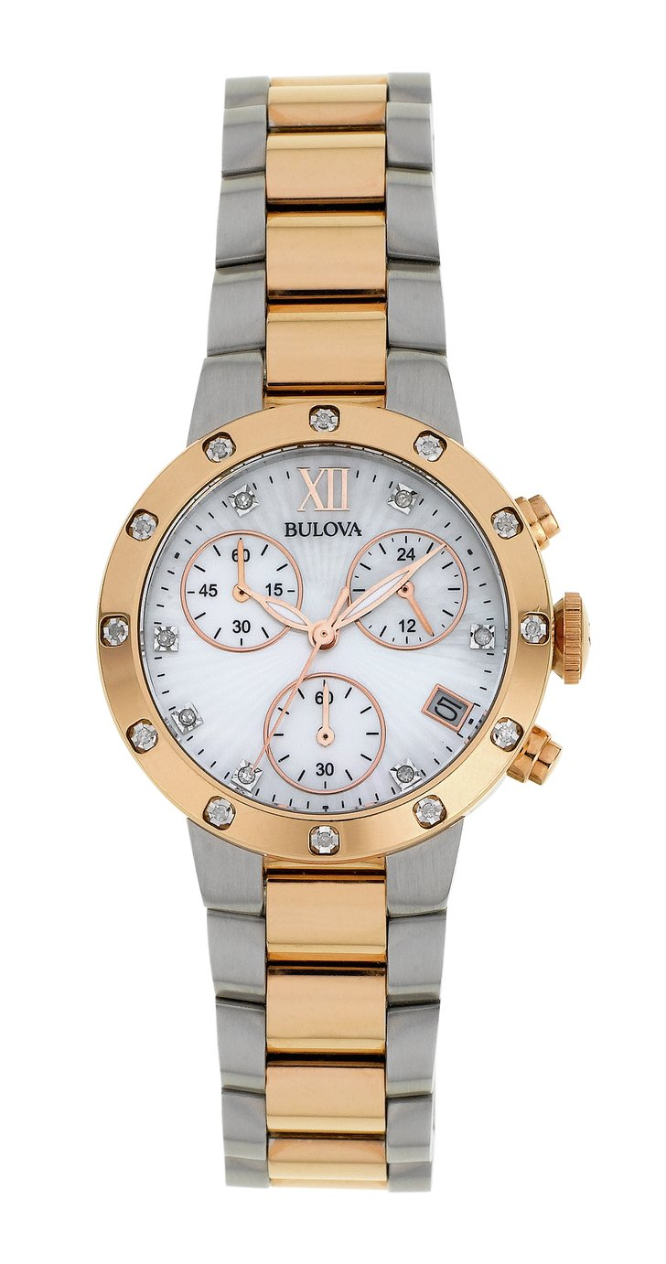 Image of Bulova - Ladies Two Tone Diamond Set Chronograph - Watch