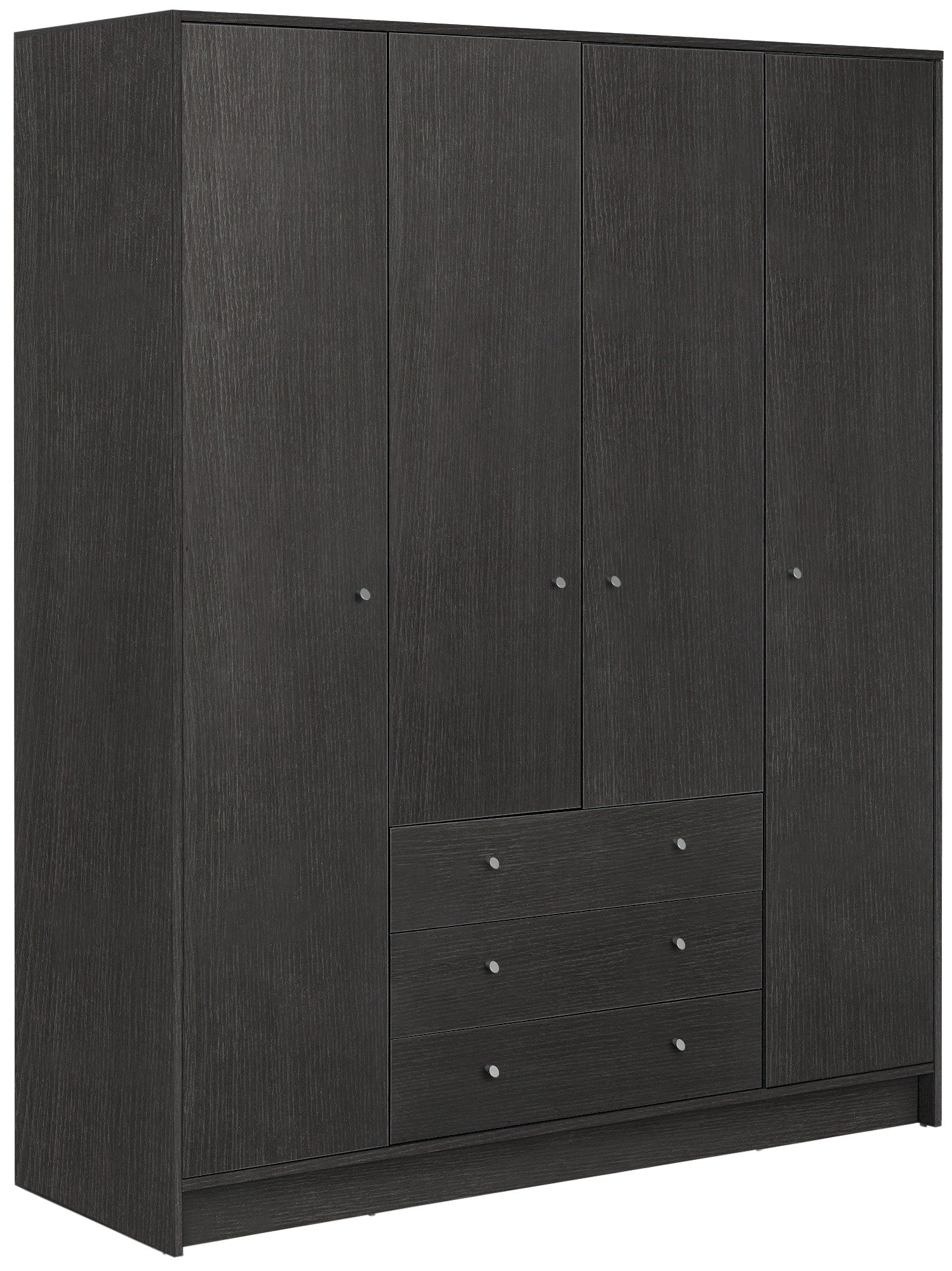 Argos Home Malibu 4 Dr 3 Drawer Wardrobe - Black Oak Effect