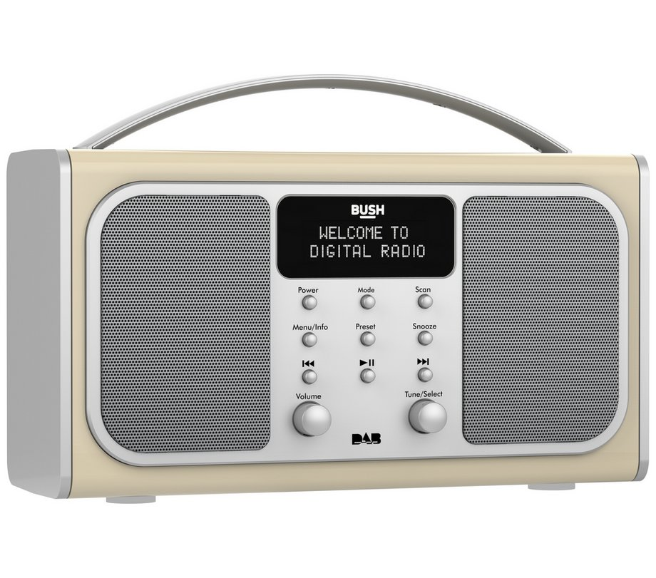 bush wireless bluetooth stereo dab fm radio in cream with alarm clock. Black Bedroom Furniture Sets. Home Design Ideas
