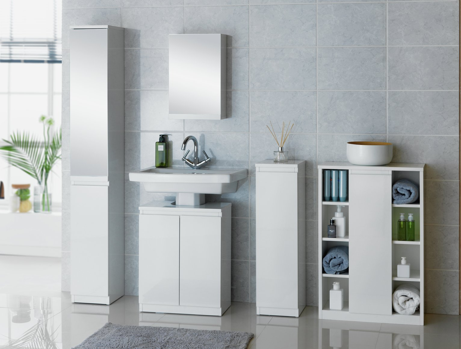 Buy Hygena Gloss Floor Cabinet Storage White at Argos
